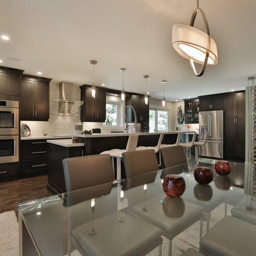 Dark brown kitchen and dinning room