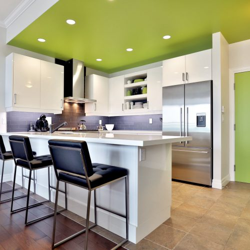 White kitchen with green ceiling and door