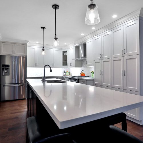 Kitchen island with white counter top